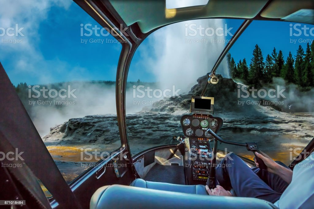 Castle Geyser Helicopter stock photo