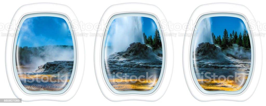 Castle Geyser Portholes stock photo