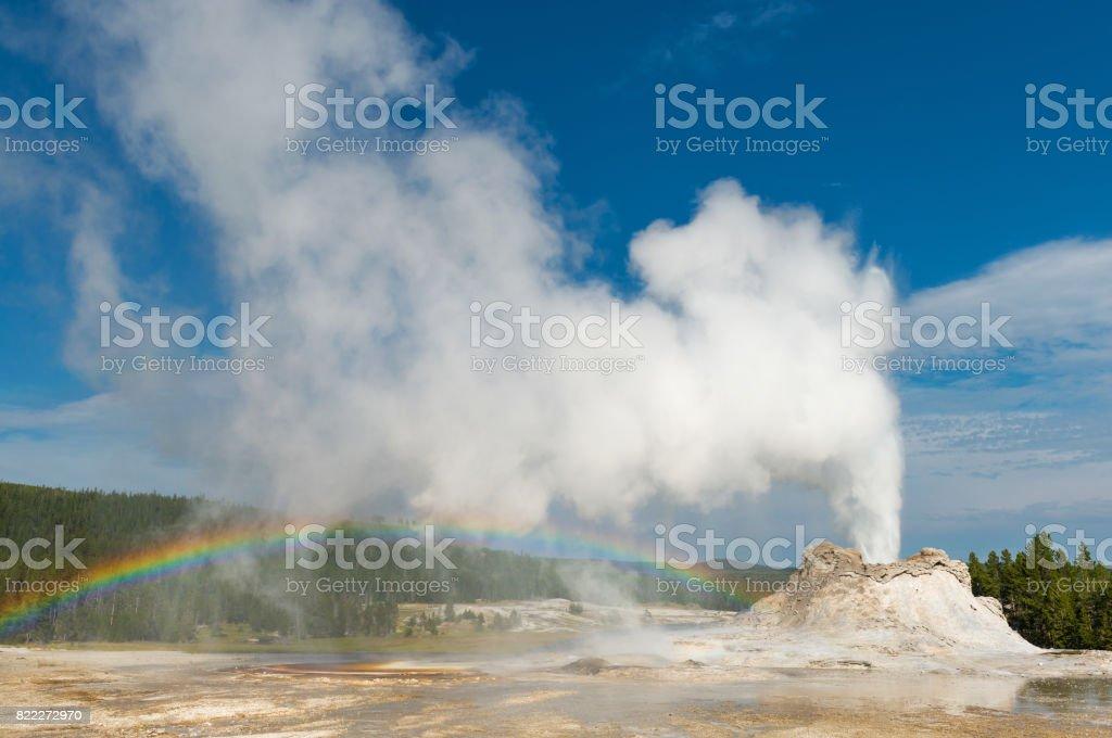 Castle Geyser Rainbow stock photo