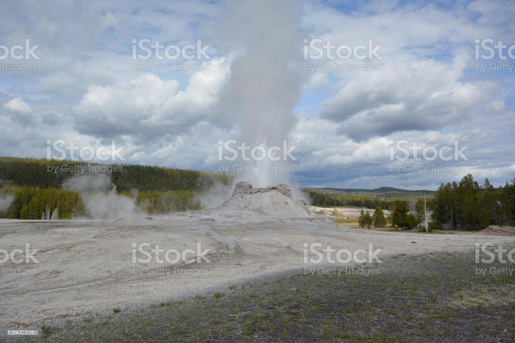 Castle Geyser Yellowstone National Park stock photo