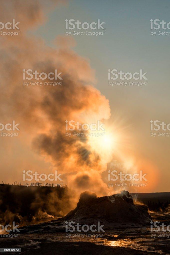 Castle geyser Yellowstone stock photo