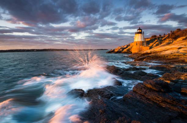 Castle Hill Lighthouse Landschaft bei Sonnenuntergang – Foto