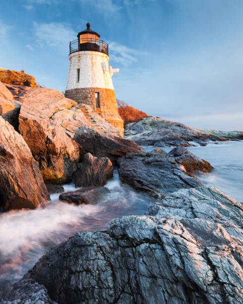 Castle Hill Lighthouse Landscape at Sunset stock photo