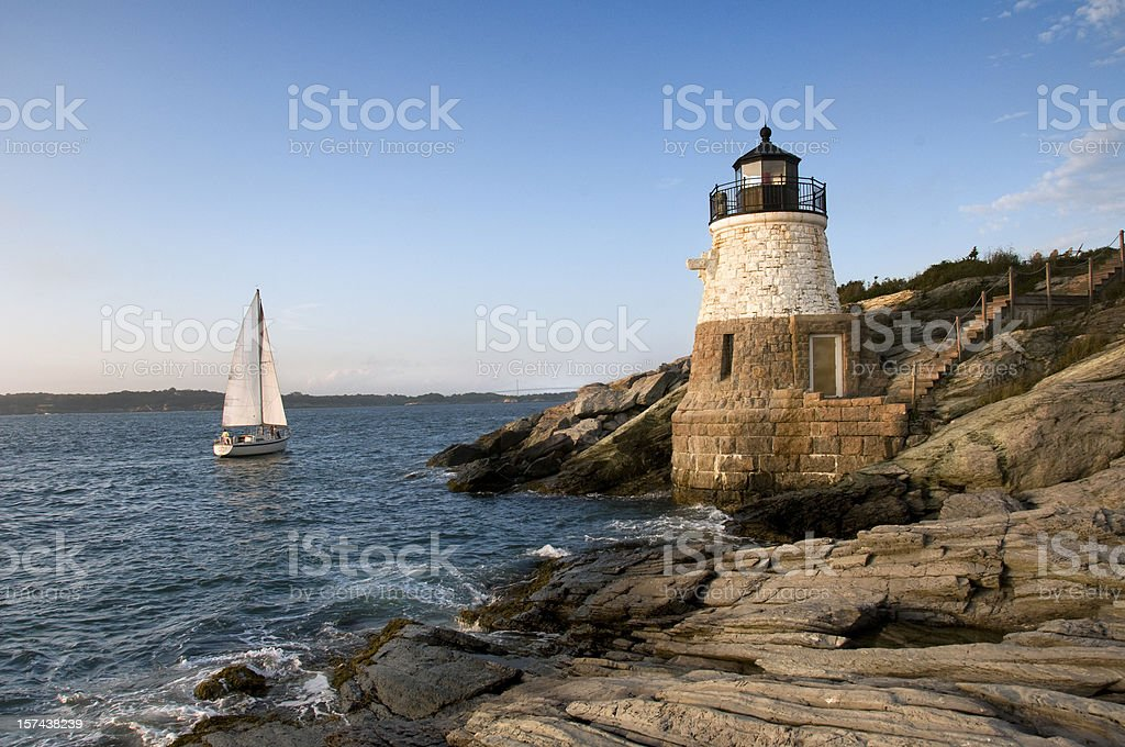 Castle Hill Lighthouse, Newport Rhode Island stock photo