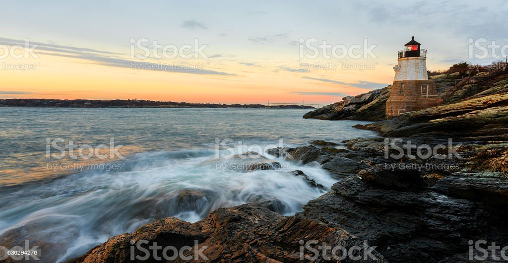 Castle Hill Lighthouse with waves stock photo