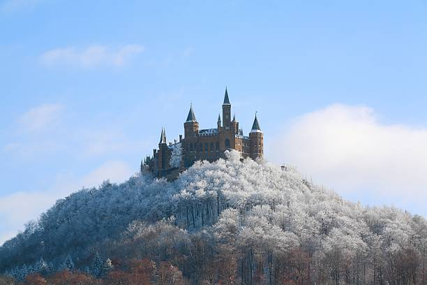 castle hohenzollern wintertime bottom - castle stock pictures, royalty-free photos & images