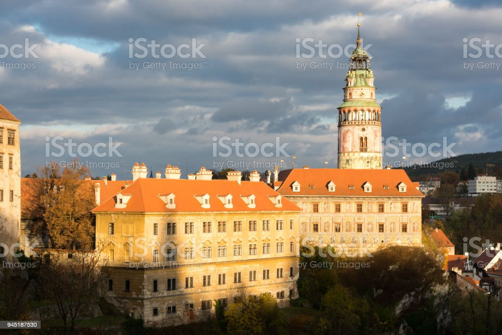 Castle in Cesky Krumlov city stock photo