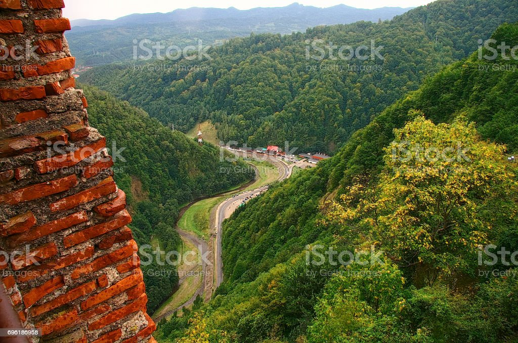 Castle in Romania Poenari.View from Poenari Castle stock photo