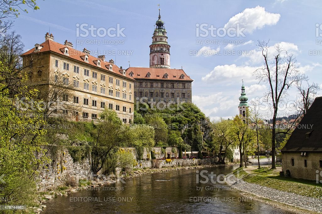 Castle in small european town of Cesky Krumlov stock photo