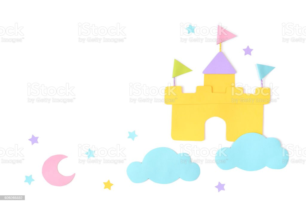Castle in the cloud paper cut on white background stock photo