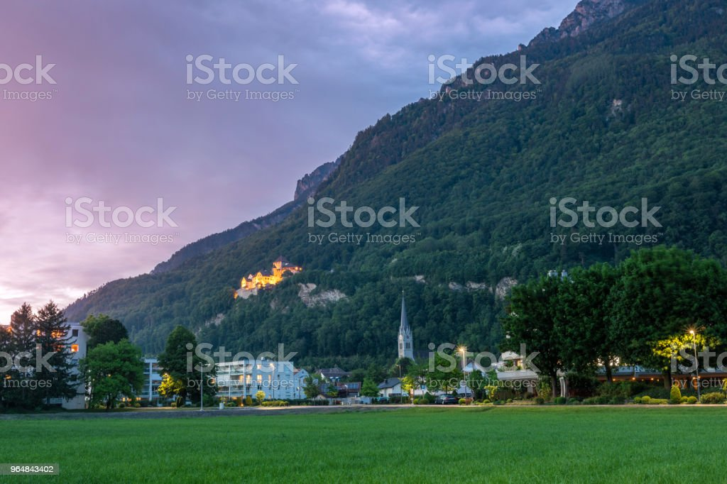 Castle in the mountains Alps royalty-free stock photo