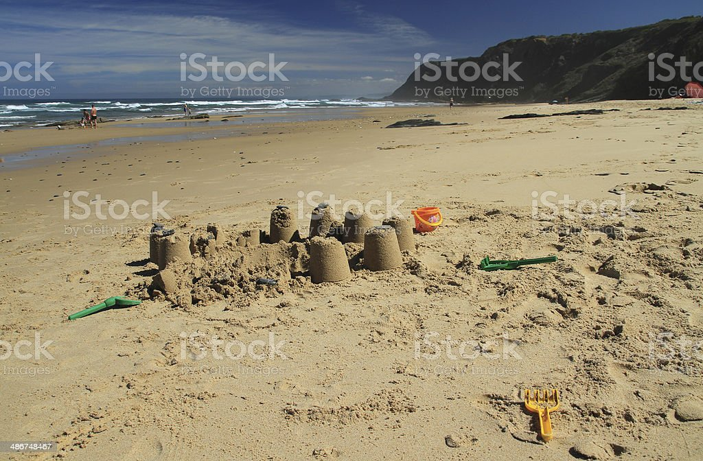 Castle in the sand stock photo