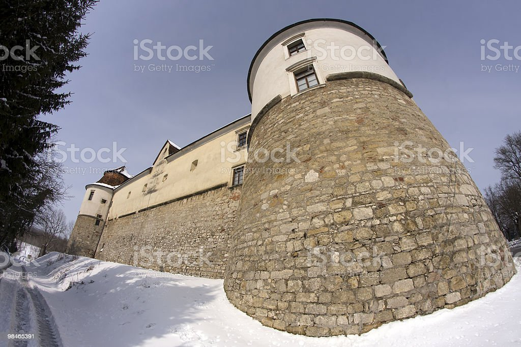 Castello nella neve foto stock royalty-free