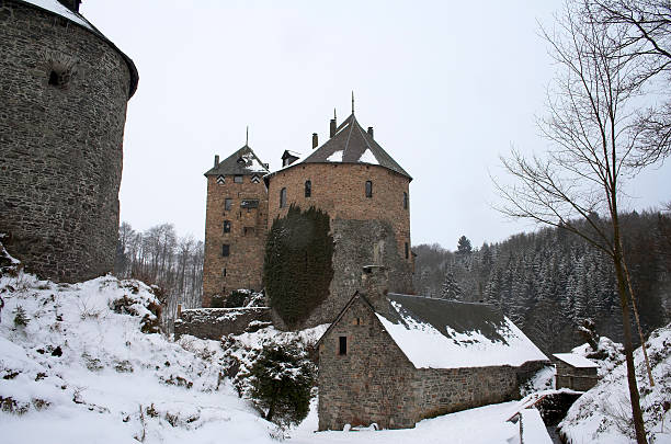 Castle in the winter stock photo
