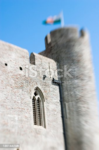 caerphilly castle close up, wales uk, lensbaby image