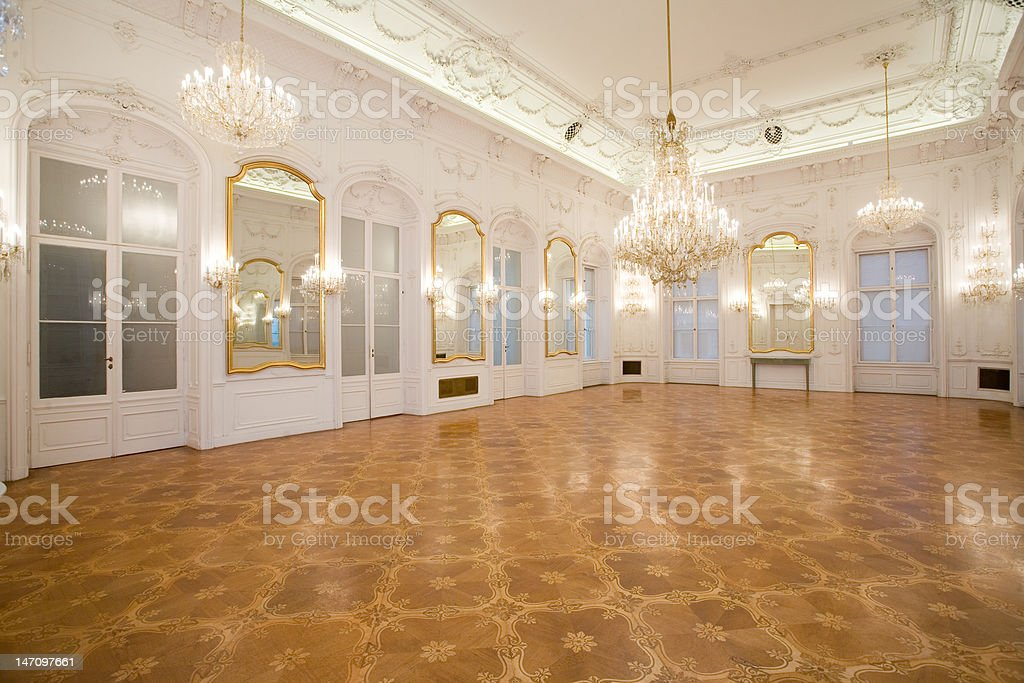 castle interior, mirror room stock photo