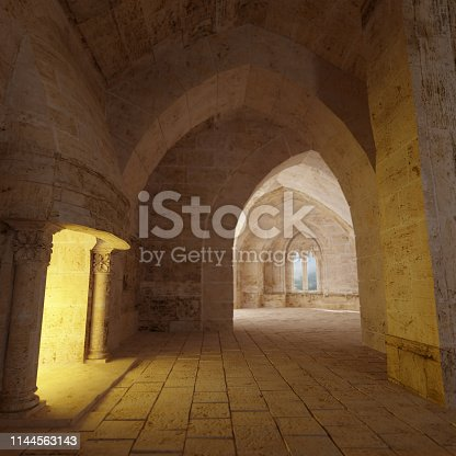 3D rendering of a castle interior