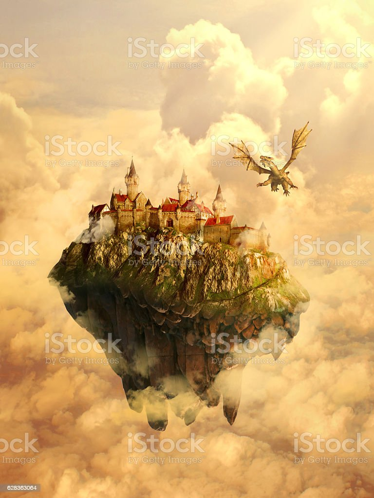 Castle invaded, protected by dragon stock photo