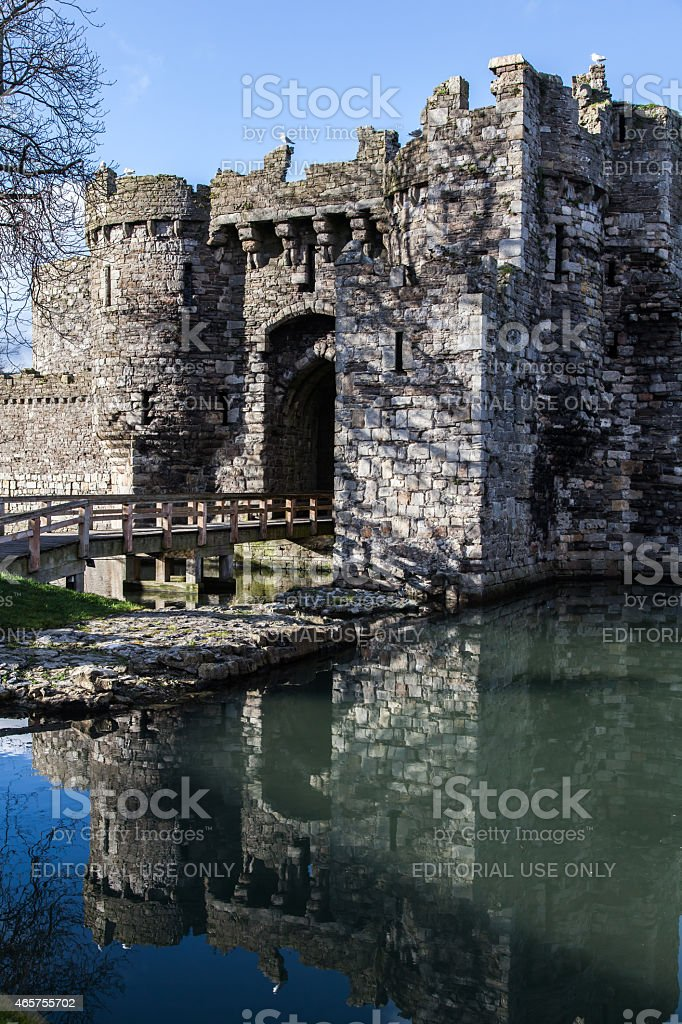 Castle keep and moat stock photo