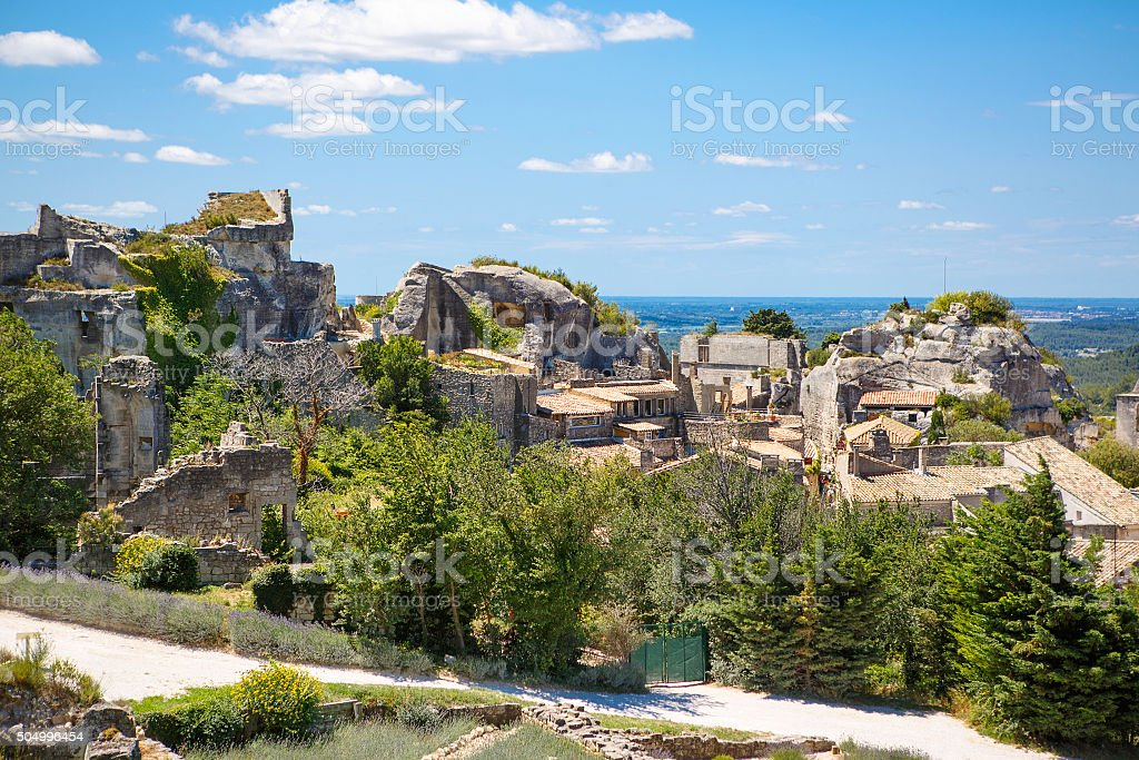 Castle Les Baux de-Provence, Provence, France on warm sunny day stock photo