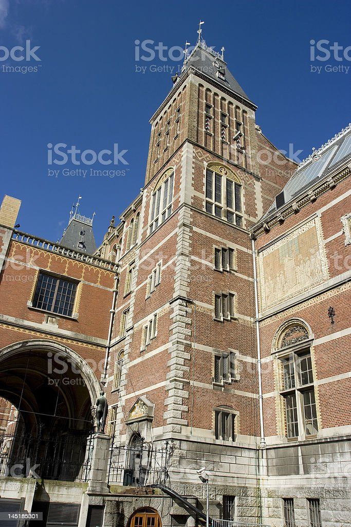 Castle like mansion building in Amsterdam stock photo
