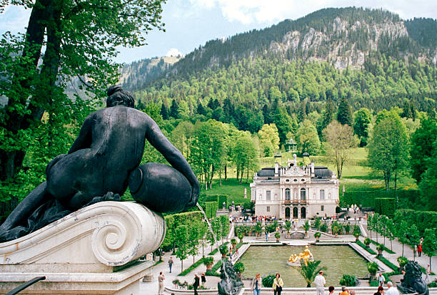 Castle Linderhof, Germany, fountain and sculpture stock photo