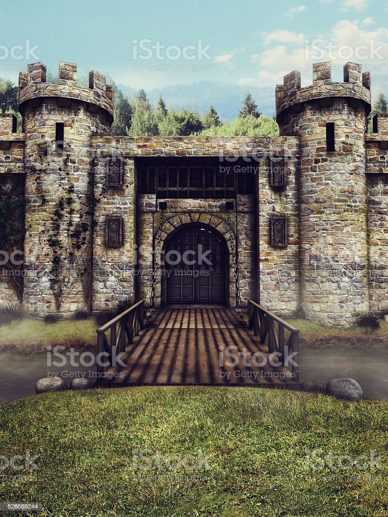 Castle moat and drawbridge stock photo