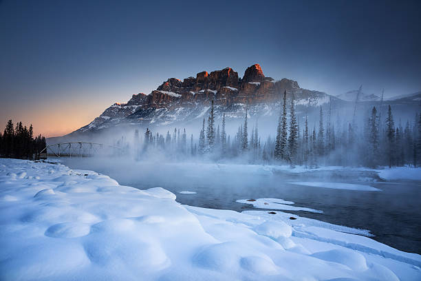 castle mountain winter - banff national park stock photos and pictures