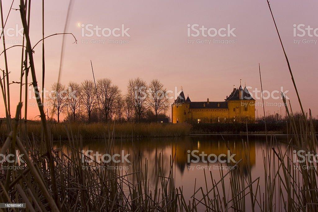 Castle Muiderslot in morninglight royalty-free stock photo