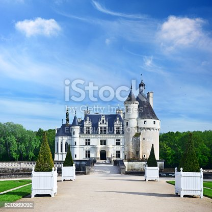 Chenonceaux, France - May 10, 2012: The Chateau de Chenonceau is a castle near the small village of Chenonceaux on the River Cher. Castle built between 1515 and 1521 by Thomas Bohier, Chamberlain for King Charles VIII of France. Today, the Chateau of Chenonceau is second only to Versailles as the most visited chateau in France