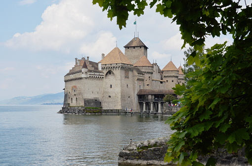 castle of Chillon famous travel location and landmark in Switzerland