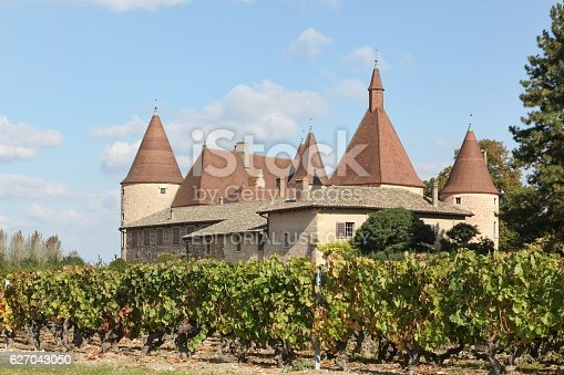 948424058istockphoto Castle of Corcelles with vineyards in Beaujolais, France 627043050