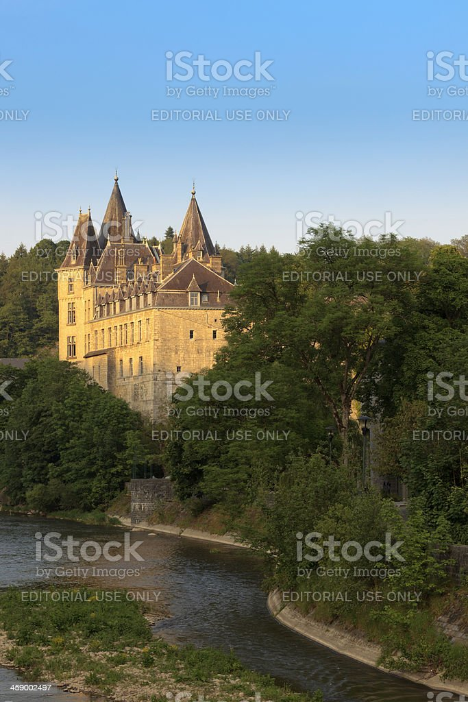 Castle of Durbuy along the river Ourthe stock photo