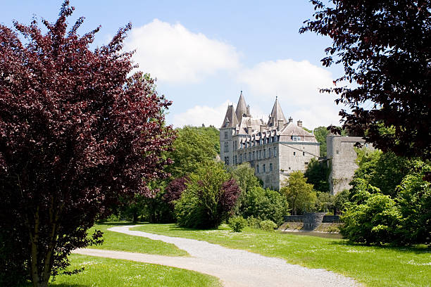 Castle of Durbuy with surrounding park stock photo
