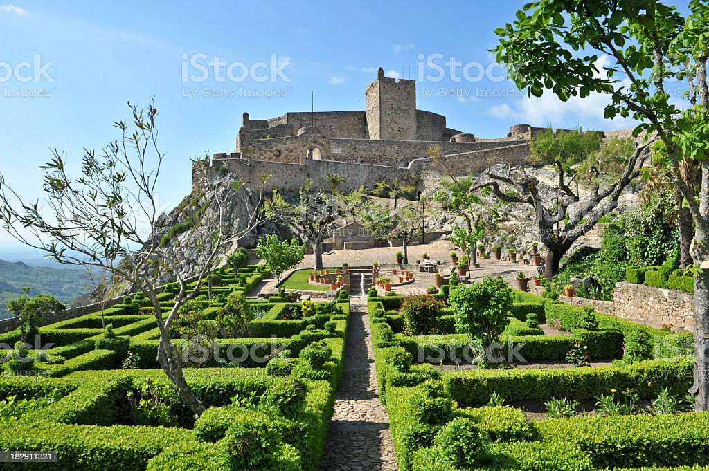 Castle of Marvão and topiary gardens stock photo