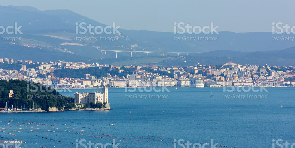 Castle of Miramare and the City of Trieste stock photo