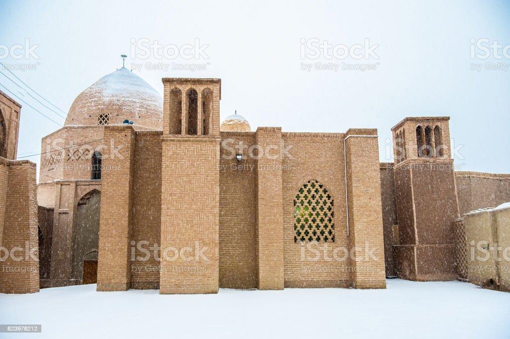 Castle of Narenj, Iran in winter stock photo