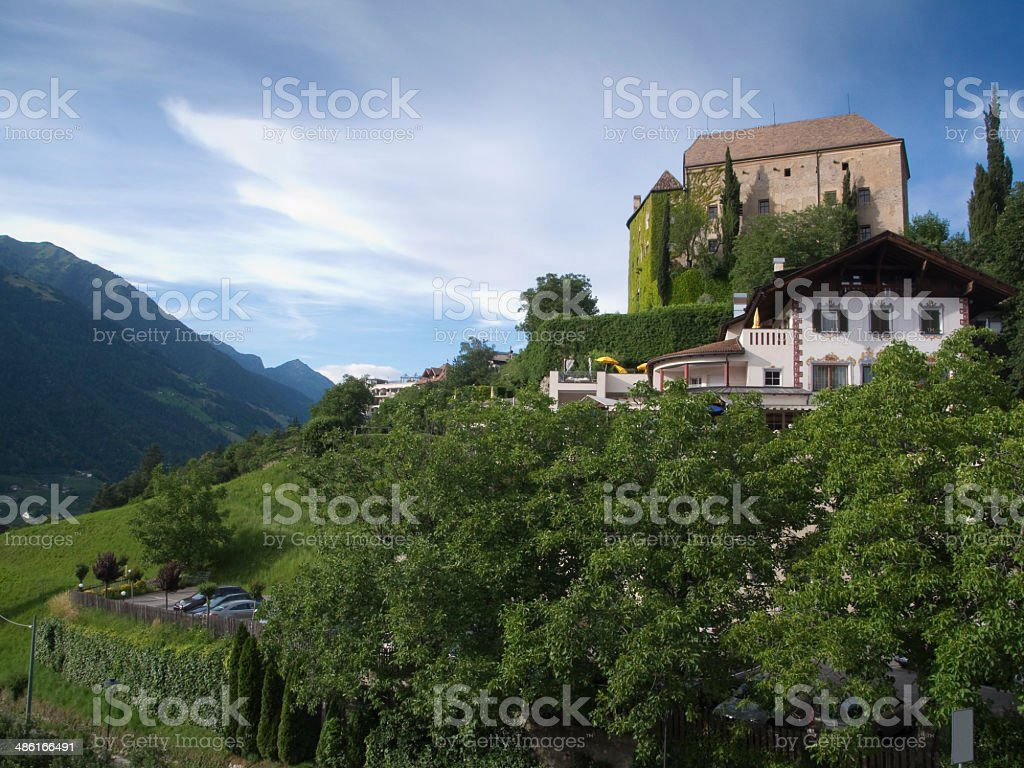 castle of scenna from below royalty-free stock photo