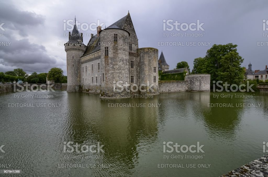Castle of Sully-sur-Loire, Loire region, France. Snap of 30 June 2017 at 18:20. stock photo
