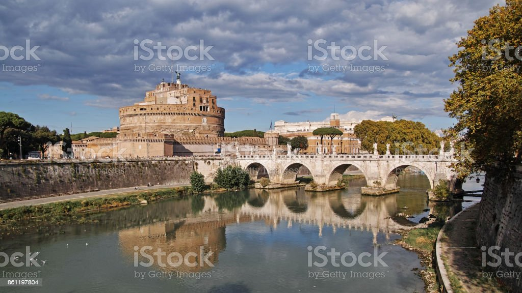 Castle of the holy angel and  aelian bridge stock photo