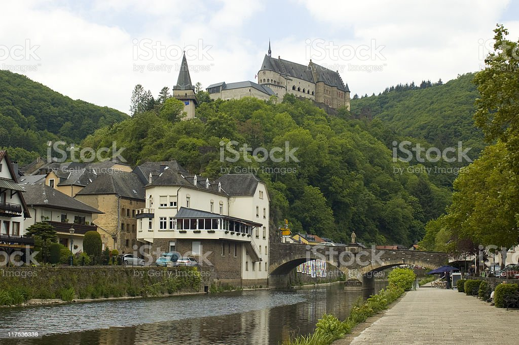castle of vianden with city on front stock photo