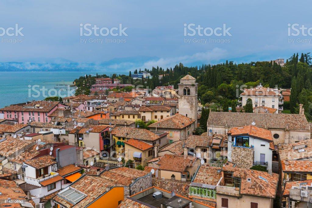 Castle on Lake Garda in Sirmione Italy stock photo