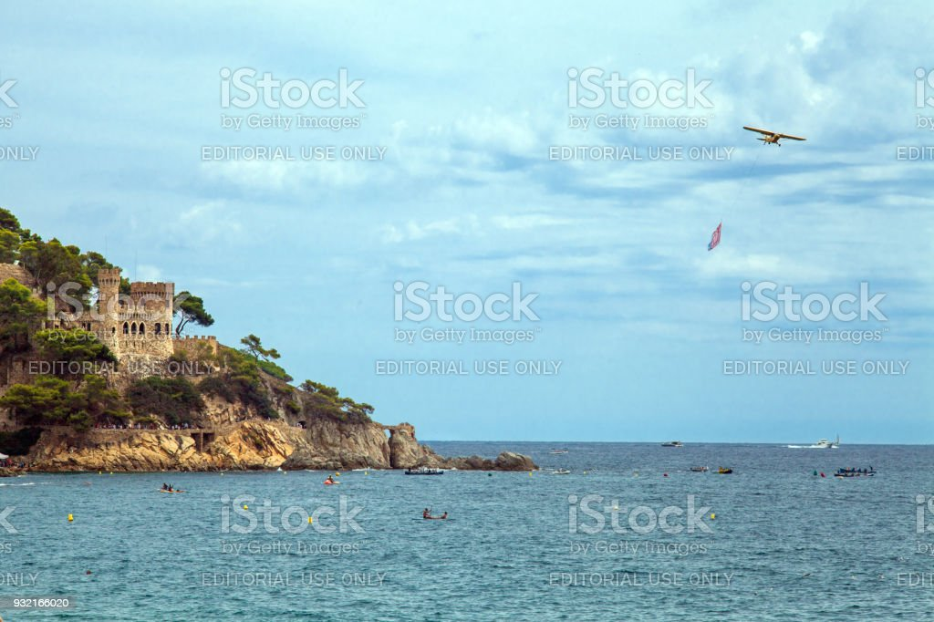 Castle on the Costa Brava in Lloret de Mar, Spain. View of the Balearic Sea and the rocky coast. Popular tourist destination in Spain. – zdjęcie