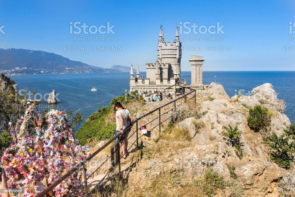 Castle on top of a cliff near the sea. royalty-free stock photo