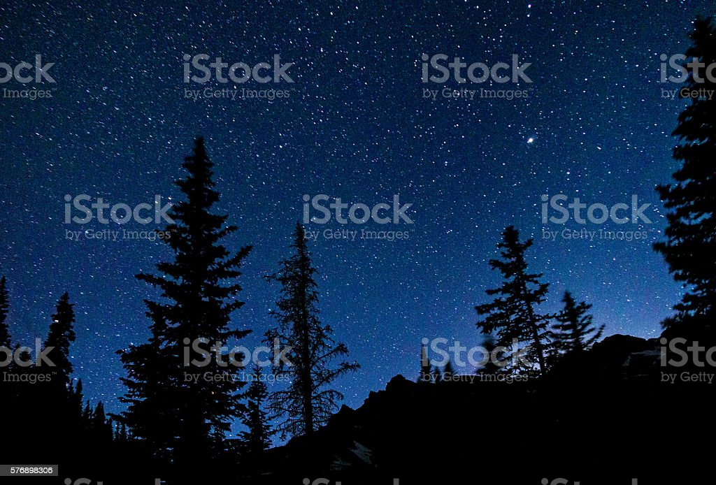Castle Peak Elk Mountains at Night with Stars stock photo