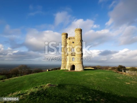 a castle tower with turrets - broadway tower in the cotswolds