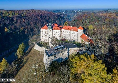 Pieskowa Skala, Krakow, Poland - November 4, 2017: Historic castle Pieskowa Skala near Krakow in Poland. Aerial view in fall.
