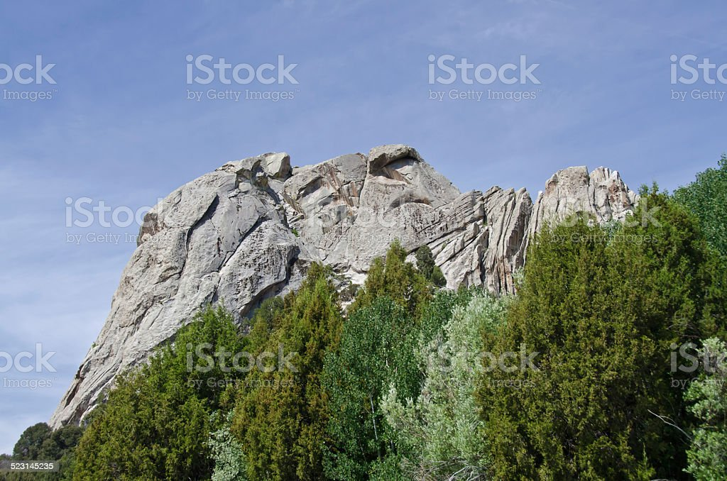 Castle Rock Above the Trees stock photo