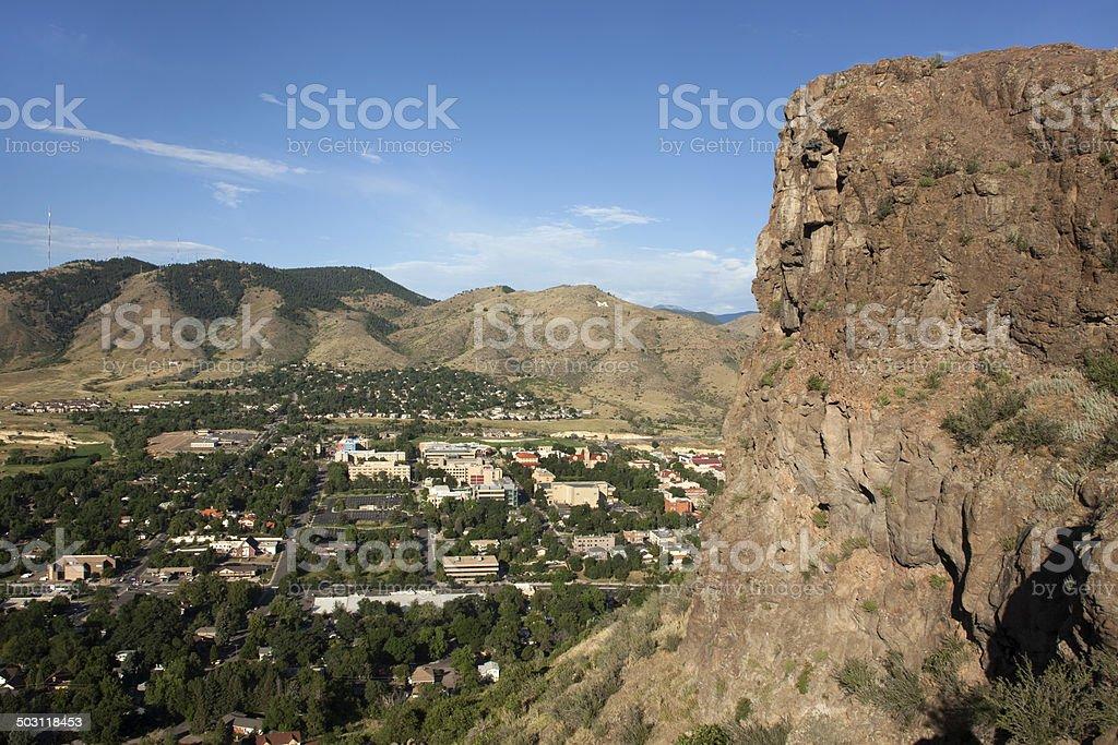 Castle Rock cliffs and town of Golden Colorado stock photo