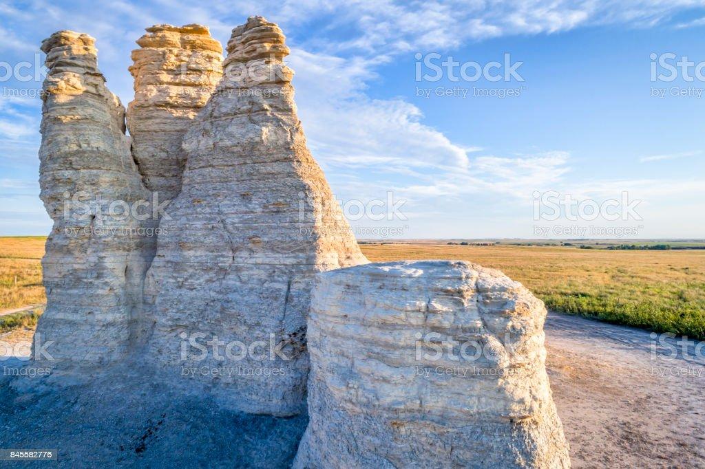 Castle Rock in Kansas prairie -aerial view stock photo